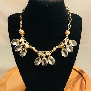 Jcrew crystal brass jewel stone statement necklace